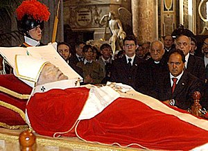 Funeral of Pope John Paul II - The body of Pope John Paul II exposed to the faithful in the Vatican Basilica.
