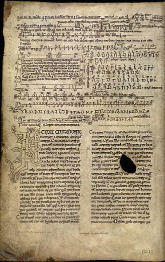 Auraicept na n-Éces - fol. 170v of the Book of Ballymote, the Incipit of the Auraicept.