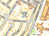 A map showing the Bootham Crescent association football ground and its surroundings