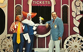 Frazier Thomas - Frazier and Garfield join Bozo's Circus in 1976.  Roy Brown (Cooky the Clown) and Bob Bell (Bozo) are also pictured.