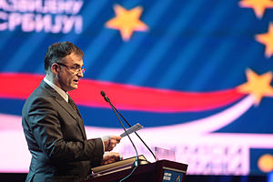 Branislav Lečić - Lečić speaks at the Democratic Party (DS) convention in December 2010.