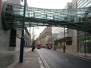Corporation Street Bridge covered footbridge which crosses Corporation Street in Manchester city center, England