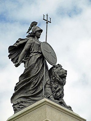 Britannia - The Armada Memorial in Plymouth depicting Britannia, the female personification of Britain