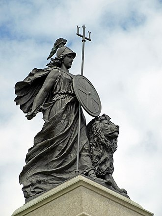 Elizabethan era - The National Armada memorial in Plymouth using the Britannia image to celebrate the defeat of the Spanish Armada in 1588 (William Charles May, sculptor, 1888)