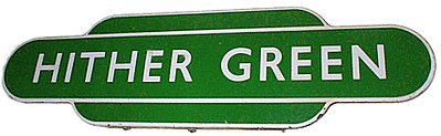 "A Southern Region ""totem"" station sign for Hither Green railway station. British Railways Southern Region station totem for Hither Green.jpg"
