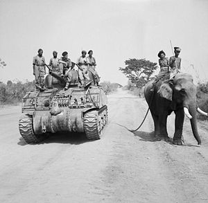 British commander and Indian crew encounter elephant near Meiktila.jpg