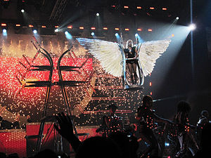 "Till the World Ends - Spears flying over the audience during the performance of ""Till the World Ends"" at the Femme Fatale Tour."