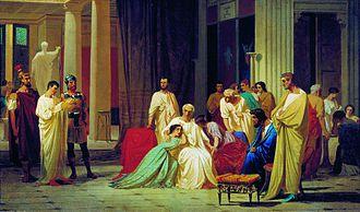 Publius Clodius Thrasea Paetus - Quaestor Reading the Death Sentence to Senator Thrasea Paetus, by Fyodor Bronnikov