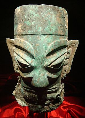 Sichuan - Bronze head from Sanxingdui, dating from the Shu kingdom