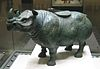 Bronze wine vessel in the form of a two-horned rhinoceros