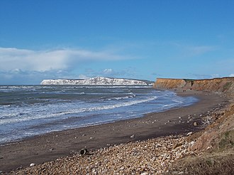 Brook, Isle of Wight - The beach at Brook, with fine views towards Tennyson Down (chalk cliffs in distance)