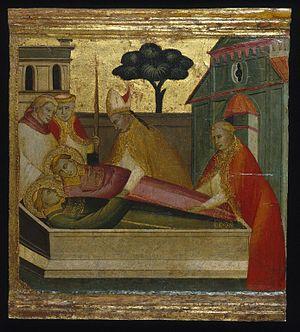 Lorenzo di Niccolò - Lorenzo di Niccolò, The Martyrdom of Saint Lawrence, 1412, Tempera and tooled gold on poplar panel, 12 7/8 x 14 3/16 in. (32.7 x 36 cm), Brooklyn Museum