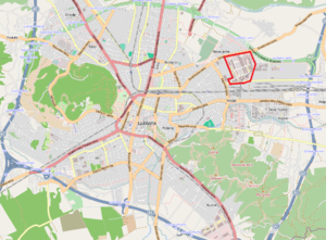 BTC City - BTC City highlighted (top right) on a map of Ljubljana.