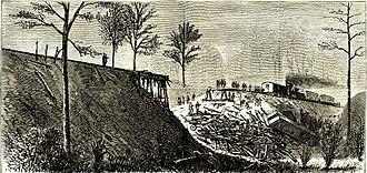 Mississippi Central Railroad - Illustration of the February 25, 1870 accident at Buckner's Trestle