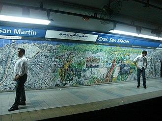 General San Martín (Buenos Aires Underground) - Image: Buenos Aires Subte San Martín 1