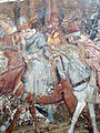 Buffalmacco, trionfo della morte, incontro dei tre vivi coi tre morti 07 cavalieri.JPG