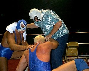Southern Championship Wrestling (Georgia) - The Bullet (left) and Mr. Wrestling II (right), seen here with Scott Armstrong (center), were among the stars who competed for Southern Championship Wrestling.