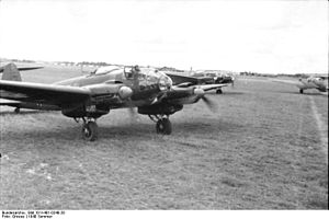 A picture of a Heinkel He 111 with running engine