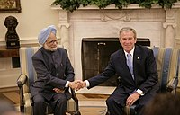 Manmohan Singh with US President George W. Bus...