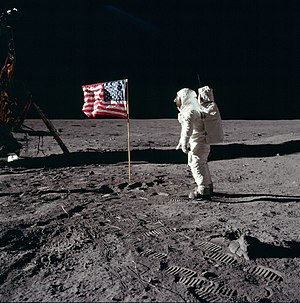 Lunar Flag Assembly - Buzz Aldrin salutes the first American flag erected on the Moon, July 21, 1969
