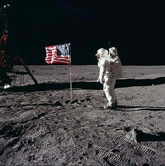 Alaska lunar sample displays - Aldrin salutes the U.S. flag on the Moon