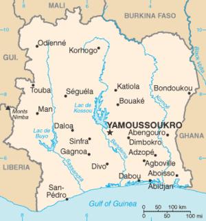 Komoé River - Image: Côte d'Ivoire map