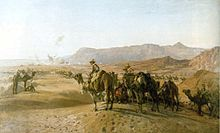 A painting of soldiers on camels