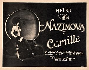 Camille (1921 film) - Alla Nazimova and Rudolph Valentino depicted in a lobby card for the film.