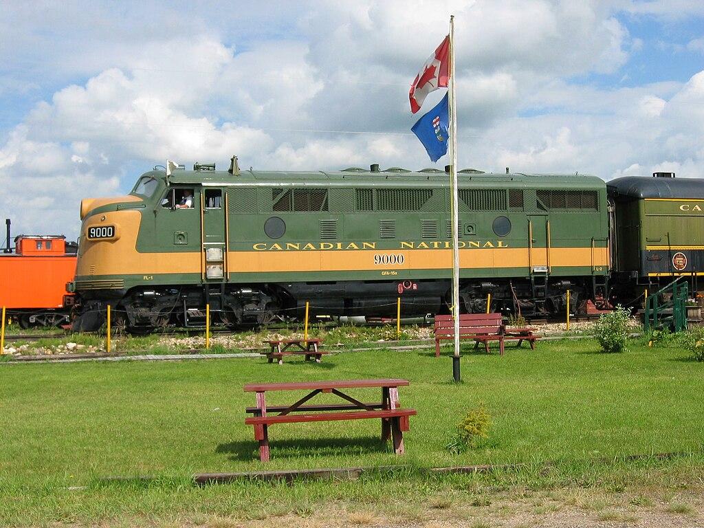 Canadian National Railway (CN) locomotive 9000 EMD F3A at Alberta Railway Museum 02-Aug-2004