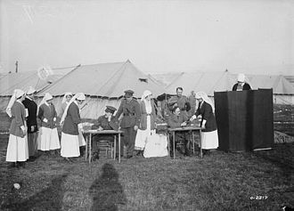 History of nursing - Nursing sisters at a Canadian military hospital in France voting in the Canadian federal election, 1917.