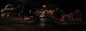 Candy Cane Lane, Duboistown - Panoramic view of Candy Cane Lane looking south (uphill) from Euclid Avenue in December 2008