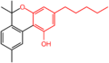 Cannabinol with olivetol skeleton highlighted.png