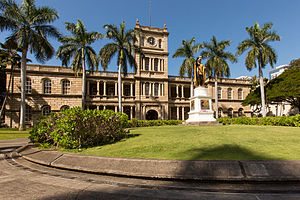 Downtown Honolulu - The iconic Ali{{okina}}iōlani Hale captured within the Capitol District of Honolulu