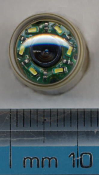 Given Imaging - Endoscopic capsule end-on, showing six LEDs and camera lens.