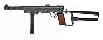 Carl Gustav m/45 - The Swedish police Carl Gustav m45BE with the a modified stock m/75. It had a removable upper cheekpiece that allows the operator to wear a visored riot protection helmet (Huvudskydd m/69)