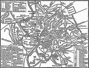 Localisation (en rouge) du Panthéon sur le Champ de Mars