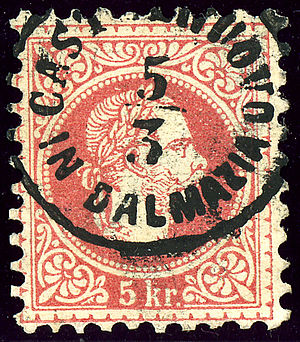Herceg Novi - Austrian KK stamp issued in 1867 cancelled Castelnuovo in Dalmazia