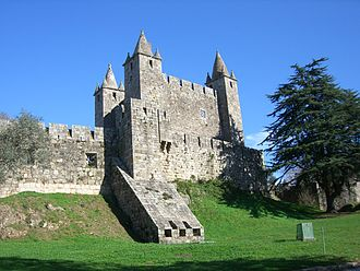 Castle - Santa Maria da Feira Castle in Portugal, with its 15th-century pinnacles