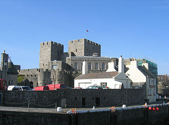 Castle Rushen - Castle Rushen, with the Castle Arms in the foreground