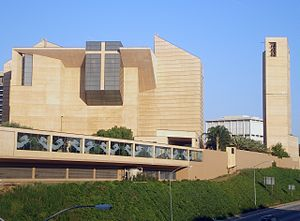 Temple Street (Los Angeles) - Cathedral of Our Lady of the Angels as seen from Hill Street bridge by Temple Street