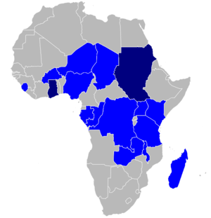 Celtel - Celtel coverage in Africa. Dark blue countries are where the Celtel brand is not used.
