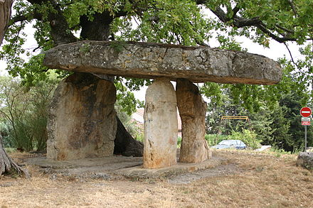 A bronze-age dolmen (2500 to 900 BC) near Draguignan Celtic Stone in Draguignan - Provence - France.JPG