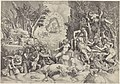 Cephalus en de Bosgoden beweenen de dood van Procris Procrin eritrei regis atheniensium Filia, et Cephali uxor, ab eodem viro inscio (titel op object), RP-P-1906-2280.jpg
