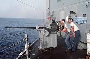 Chain gun - M242 Mk 38 Chain gun mounted on USS Nicholas (FFG-47)