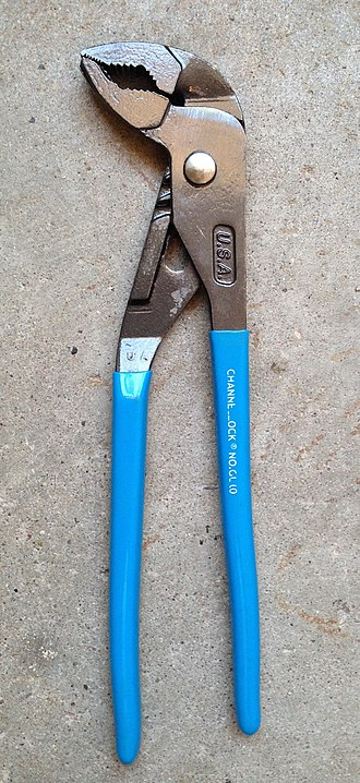 """Channellock - """"GripLock"""" pliers, a variation of the tongue-and-groove design, with classic sky-blue handle grips."""