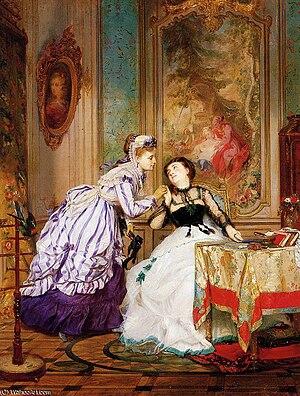 Charles-Édouard Boutibonne - Édouard Boutibonne, A Warm Reception, oil on panel, 55x43 cm, 1868
