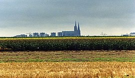 Distant view of Chartres and its cathedral