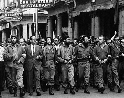 Castro (far left), Che Guevara (center), William Alexander Morgan (second from the right), and other leading revolutionaries marching through the streets in protest over the La Coubre explosion, 5 March 1960 CheLaCoubreMarch.jpg