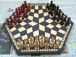 96-cell hexagonal chessboard with white, black, and red armies in starting positions