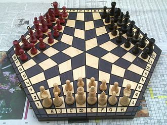Chess variant - A three-player chess variant which uses a hexagonal board